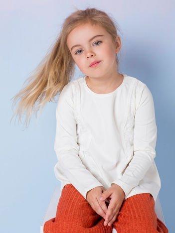 Ecru bluzka dla dziewczynki z koronką