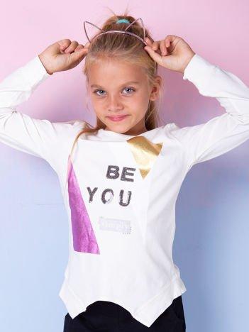 Ecru bluzka dla dziewczynki z nadrukiem