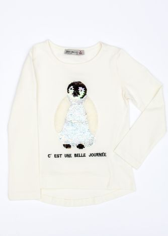 Ecru bluzka dla dziewczynki z pingwinem