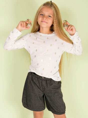 Ecru bluzka dziewczęca w ananasy