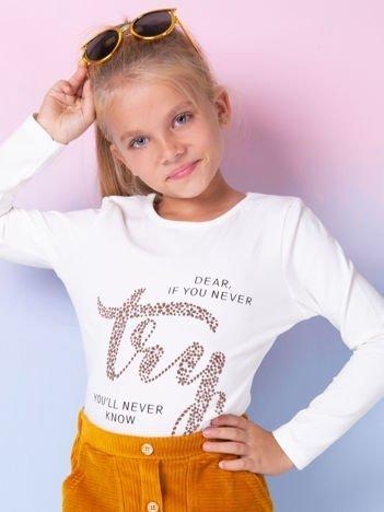 Ecru bluzka dziewczęca z nadrukiem