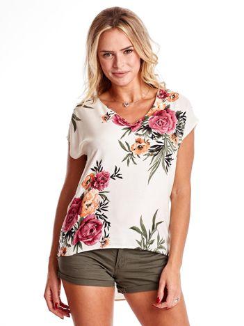Ecru bluzka w kwiatowe wzory