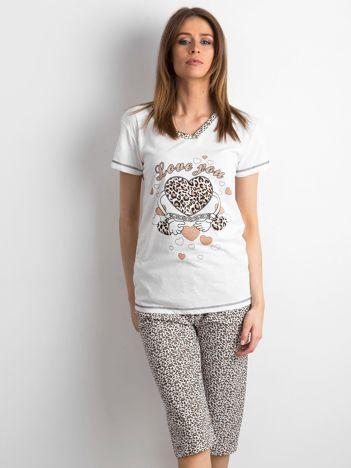 Ecru-brązowa damska piżama w panterkę