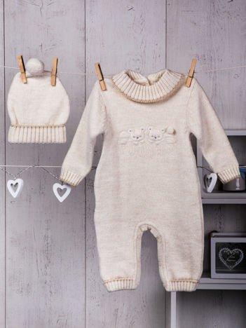Ecru ciepły dzianinowy niemowlęcy 2-częściowy komplet pajacyk i czapeczka zimowa