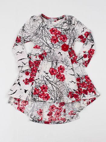 Ecru-czerwona sukienka dziecięca z nadrukiem