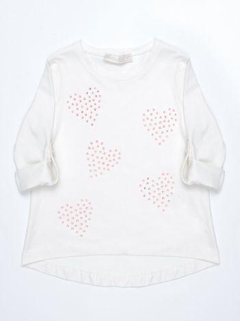 Ecru dziecięca bluzka bawełniana z serduszkami z dżetów