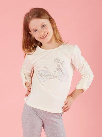 Ecru dziewczęca bluzka z aplikacją