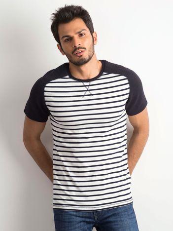 Ecru-granatowa koszulka męska w paski