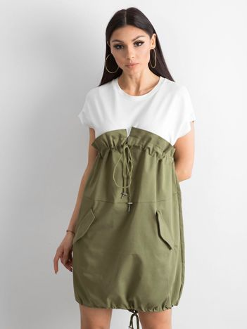 Ecru-khaki sukienka oversize