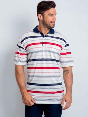 Ecru koszulka polo męska plus size Eclipse