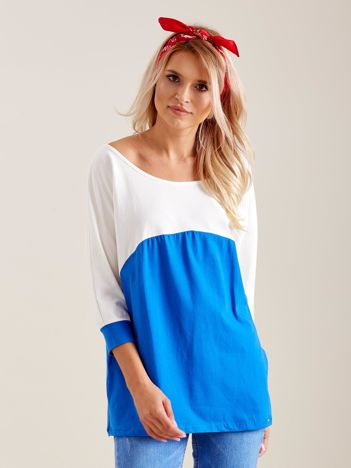 Ecru-niebieska bluzka oversize