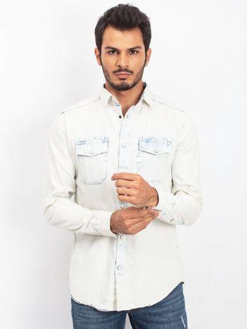 Ecru-niebieska koszula męska Outdoor