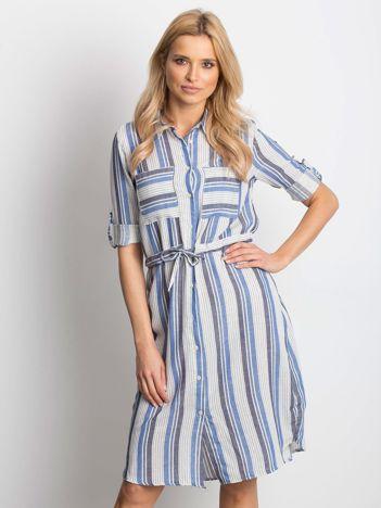 f5d4943b16 Ecru-niebieska sukienka Versatile