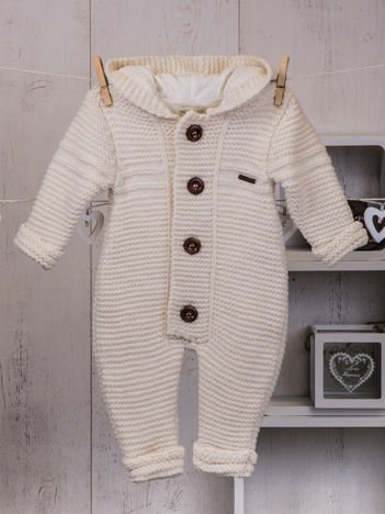 Ecru niemowlęcy ciepły kombinezon dzianinowy z kapturem dla chłopca lub dziewczynki