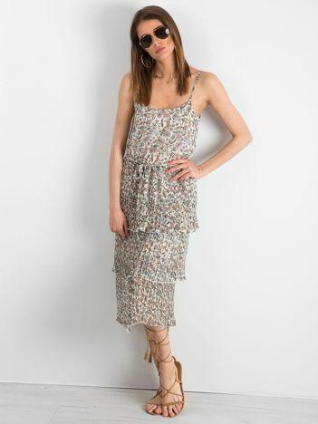 Ecru plisowana sukienka w kwiaty