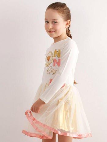 Ecru sukienka dla dziewczynki z aplikacją