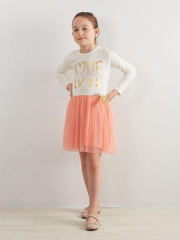 Ecru sukienka dla dziewczynki z tiulem