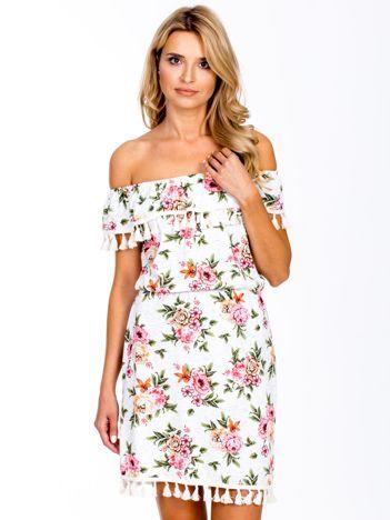 Ecru sukienka hiszpanka w kolorowe motywy roślinne