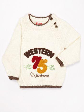 Ecru sweter dla chłopca z napisem