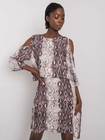 Ecru-szara sukienka ze zwierzęcym wzorem Kadia RUE PARIS