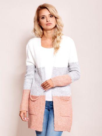 Ecru-szary sweter narzutka z kieszeniami