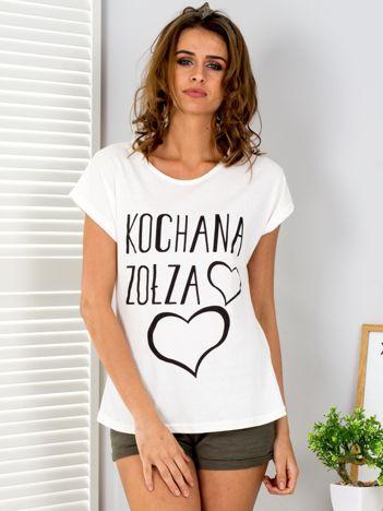 Ecru t-shirt Kochana Zołza
