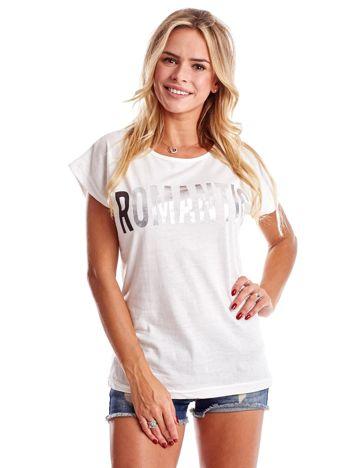 Ecru t-shirt damski ROMANTIC