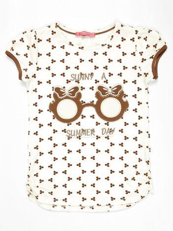 Ecru t-shirt dla dziewczynki z nadrukiem i aplikacją