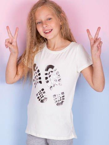 Ecru t-shirt dla dziewczynki z odciskiem buta