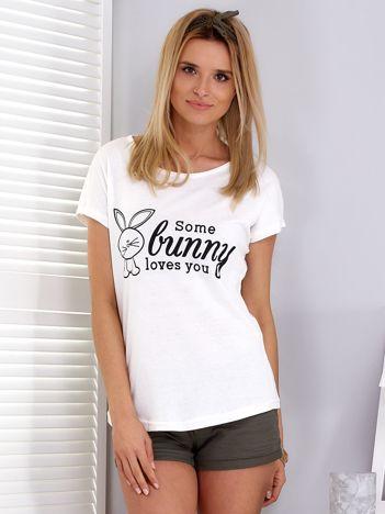Ecru t-shirt z króliczkiem