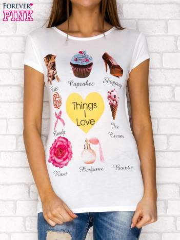 Ecru t-shirt z napisem THINGS I LOVE