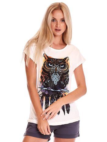 Ecru t-shirt z sową