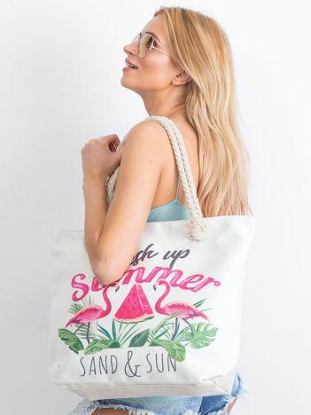 Ecru torba zakupowa z letnim nadrukiem