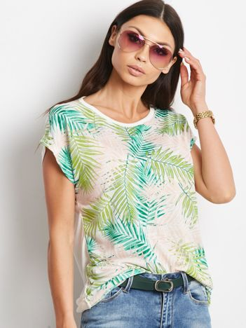 Ecru-zielony t-shirt Singleplayer