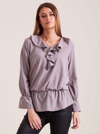 Elegancka bluzka z falbanami szara