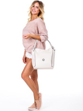 Elegancka ecru torba z eko skóry z logo