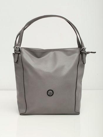 Elegancka szara torba z eko skóry z logo