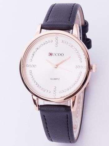 Elegancki czarny zegarek damski z cyrkoniami wokół tarczy