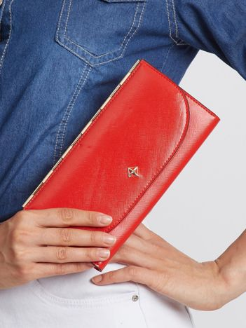 Elegancki czerwony portfel damski