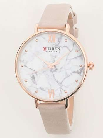 Elegancki zegarek damski z motywem marmuru na tarczy