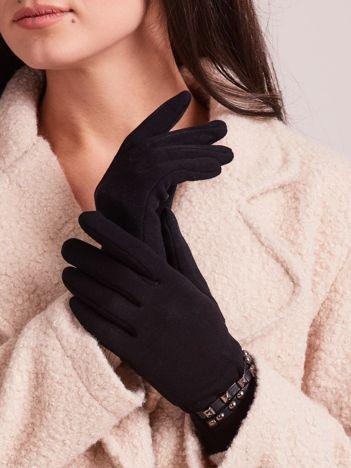 Eleganckie czarne rękawiczki ocieplane z ćwiekami
