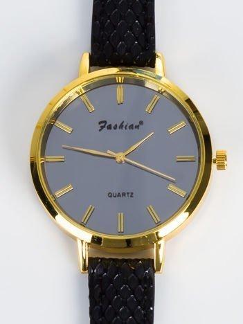 FASHION Delikatny złoty zegarek damski z grafitową tarczą,tłoczenia na pasku