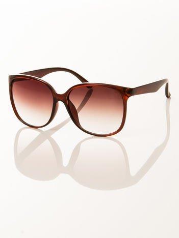 FASHION damskie okulary przeciwsłoneczne brązowe, szkło brązowe dymione
