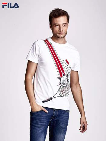 FILA Biały t-shirt męski z tenisowym nadrukiem