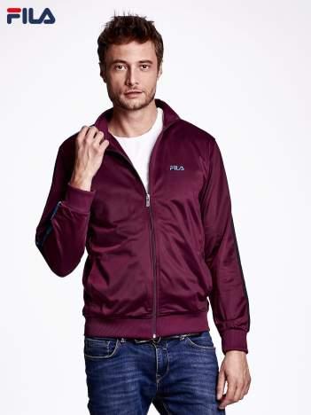 FILA Ciemnofioletowa bluza męska z kolorowym lampasem