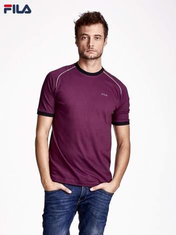 FILA Ciemnofioletowy t-shirt męski z kontrastowym wykończeniem rękawów