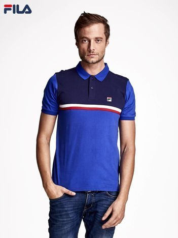 FILA Niebieska modułowa koszulka polo męska