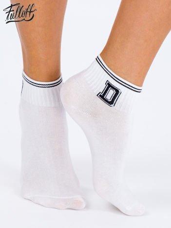 FULLOFF Białe bawełniane skarpety stopki z nadrukiem na ściągaczu