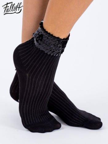 FULLOFF Czarne bawełniane skarpety z cekinowym ściągaczem