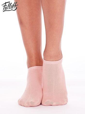 FULLOFF Różowe skarpetki stopki z serduszkami